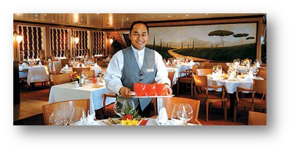 Waiter Serving on Cruise Ship