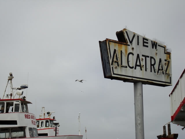 Old Alcatraz Sign Post