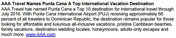 AAA Punta Cana Travel Recognition