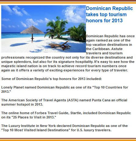 Dominican Republic Tourism Honors