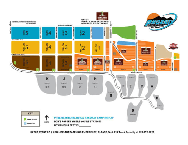 Phoenix International Raceway Camping Map
