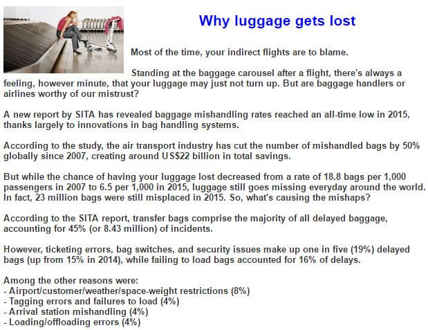 Lost Luggage Update