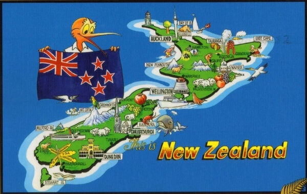 New Zealand Cartoon Map