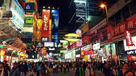 Mong Kok Shopping District Hong Kong