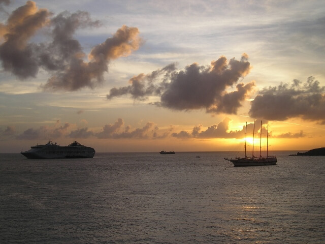 Windjammer and Cruise Ship at Sunset