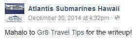 Atlantis Submarines Testimonial