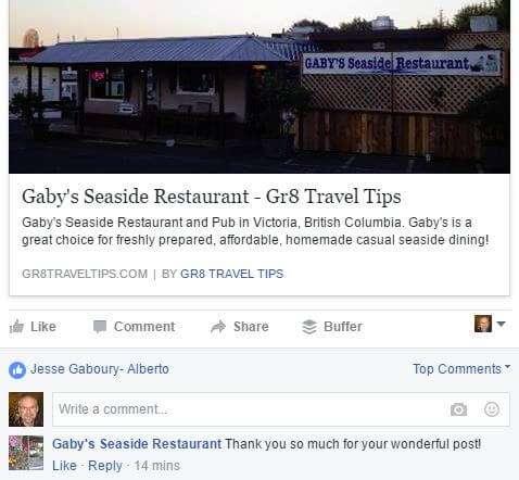 Gaby's Restaurant Testimonial