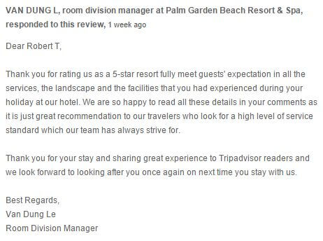 Palm Garden Resort Testimonial