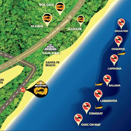 Tulum Reef Diving Locations