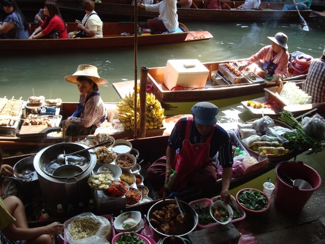 Thailand Floating Market River Boats