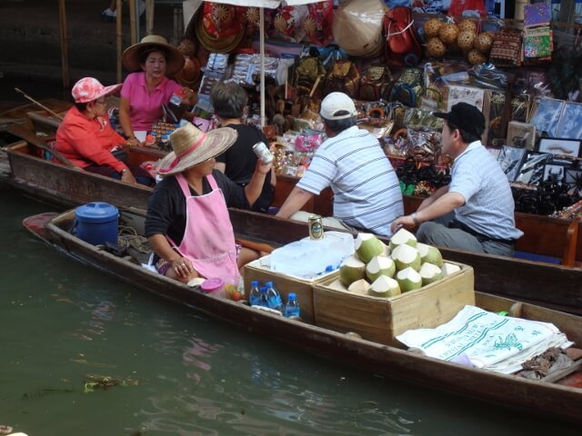 Thailand Floating Market River Boat Vendor