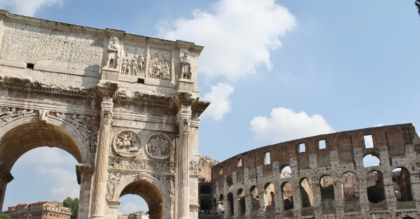 Colosseum and Arch of Constantine Rome Italy