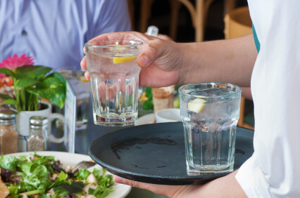Water on the dinner table