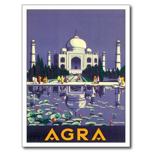 Agra India Travel Poster
