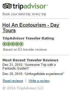 Hoi An Ecotourism Trip Advisor 5 Star Rating