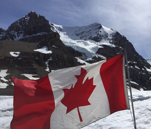 Canadian Flag Columbia Icefield