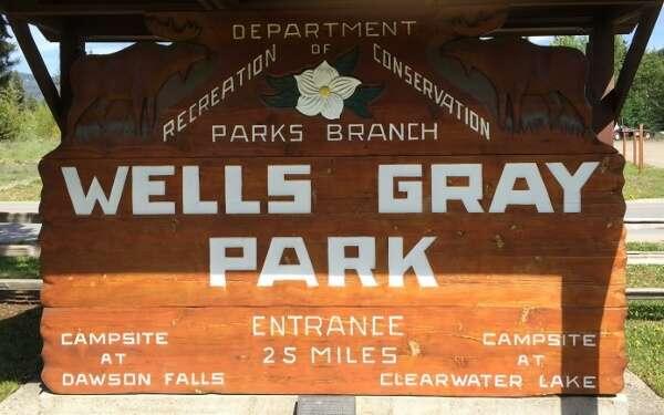 Wells Gray Provincial Park Sign
