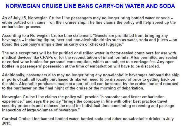NCL Water Restrictions