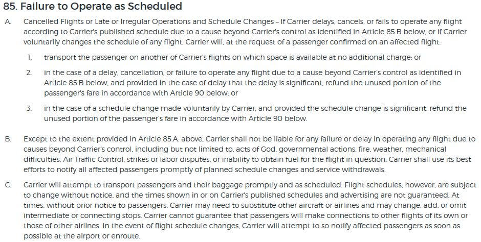 Allegiant Contract of Carriage