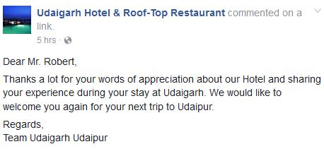 Udaigarh Hotel Testimonial
