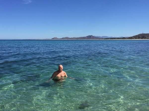 Swimming at Los Barriles Beach Baja Mexico