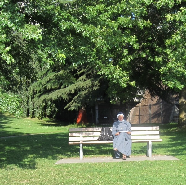 Reading on the park bench