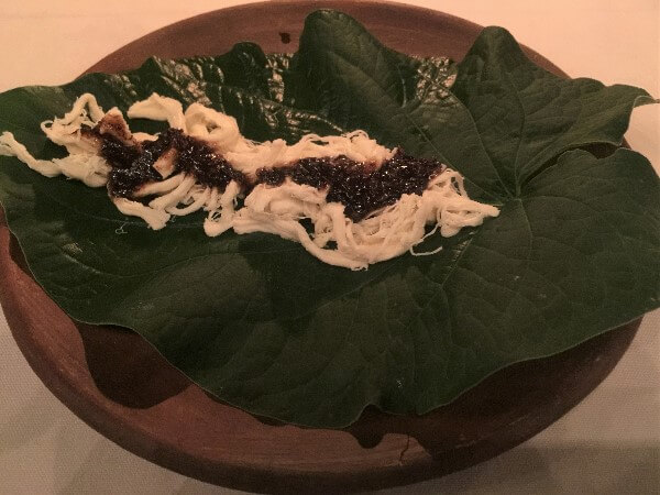 Hoja Santa with Oaxacan Cheese, Honey & Grasshoppers