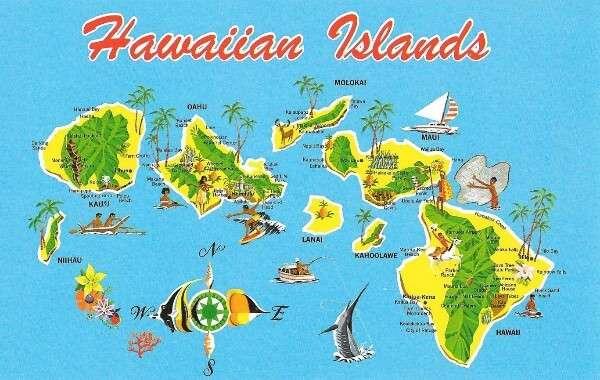 Hawaiian Islands postcard
