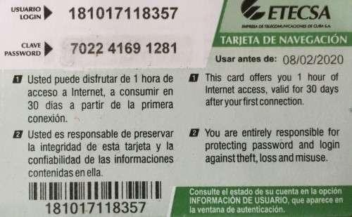 Cuba Internet Card Back