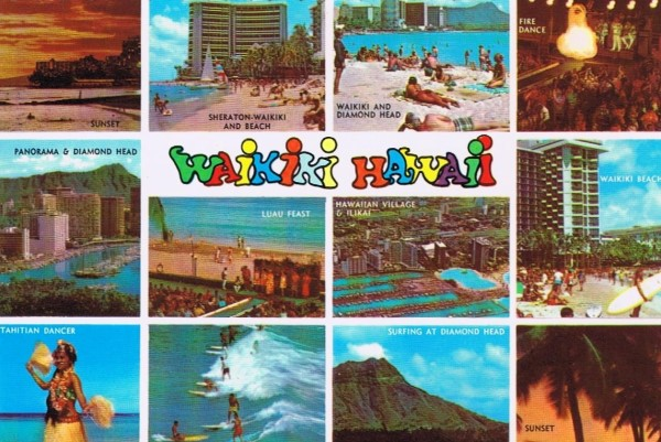 Old Waikiki Hawaii Postcard