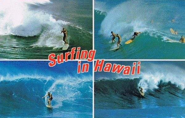 Surfing in Hawaii Old Postcard