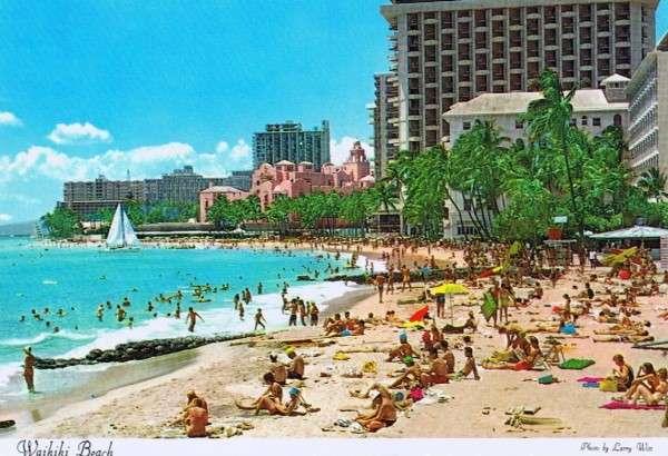 Vintage Waikiki Beach Postcard