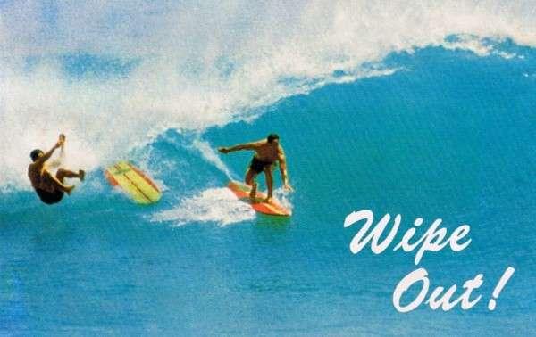 Wipe Out Vintage Hawaii Postcard