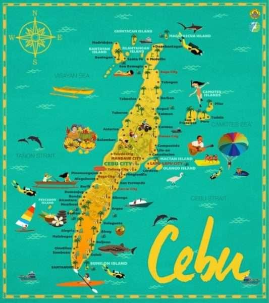 cebu colorful map