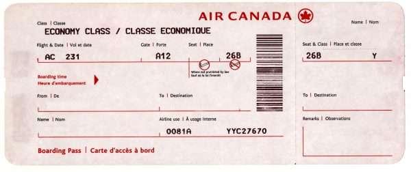 Air Canada Airplane Ticket