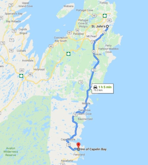 Google Map Directions To Inn of Capelin Bay