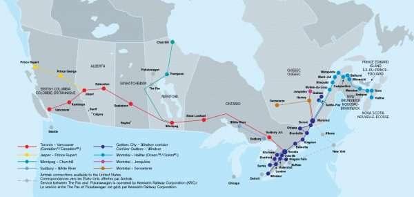 VIA Rail Canada Route Map
