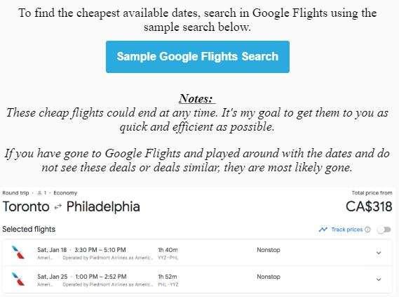 Matt's Flights Sample Flight Deals