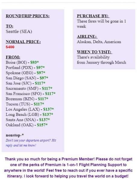 Matt's Flights West Coast Premium Sample Fares