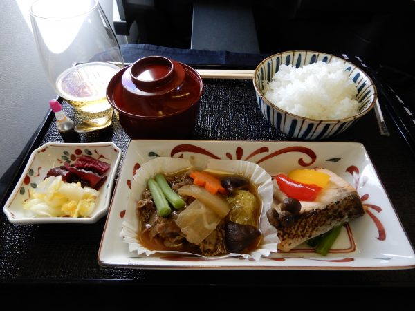 Japan Airlines Business Class Dinner