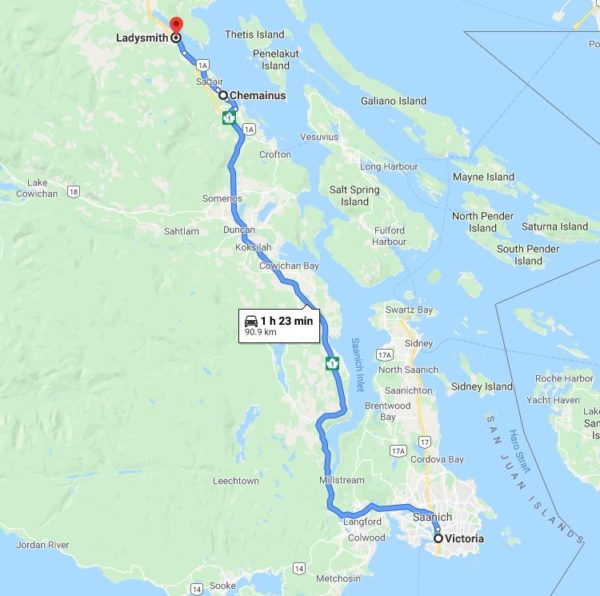 Victoria to Ladysmith BC Google Map
